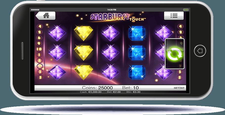 Starburst Slot on Mobile Screen